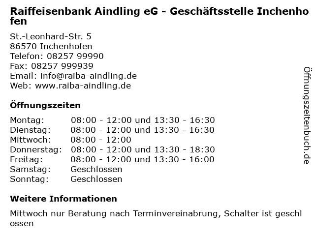 Raiffeisenbank Aindling eG - Geschäftsstelle Inchenhofen in Inchenhofen: Adresse und Öffnungszeiten