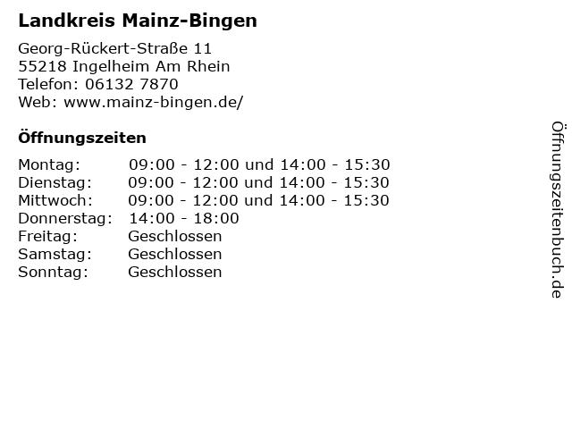Landkreis Mainz-Bingen in Ingelheim Am Rhein: Adresse und Öffnungszeiten