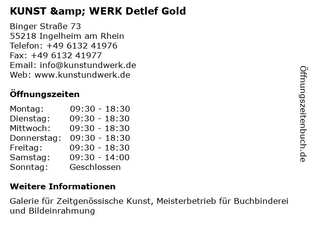 KUNST & WERK Detlef Gold in Ingelheim am Rhein: Adresse und Öffnungszeiten
