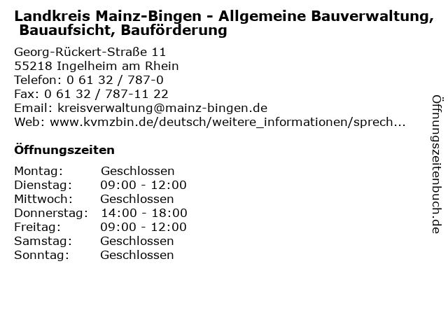 Landkreis Mainz-Bingen - Allgemeine Bauverwaltung, Bauaufsicht, Bauförderung in Ingelheim am Rhein: Adresse und Öffnungszeiten