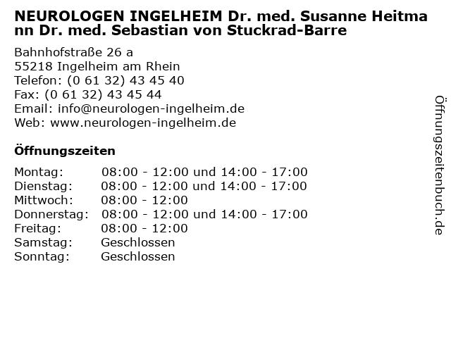 NEUROLOGEN INGELHEIM Dr. med. Susanne Heitmann Dr. med. Sebastian von Stuckrad-Barre in Ingelheim am Rhein: Adresse und Öffnungszeiten