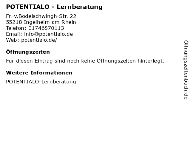POTENTIALO - Lernberatung in Ingelheim am Rhein: Adresse und Öffnungszeiten
