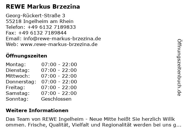 REWE Markus Brzezina in Ingelheim am Rhein: Adresse und Öffnungszeiten