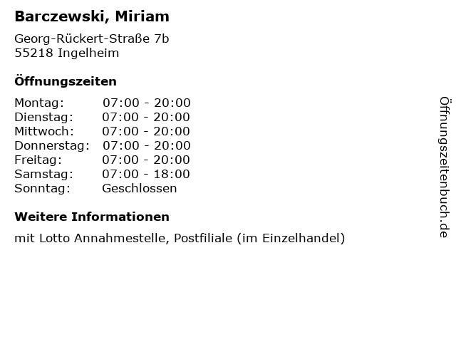 Barczewski, Miriam in Ingelheim: Adresse und Öffnungszeiten