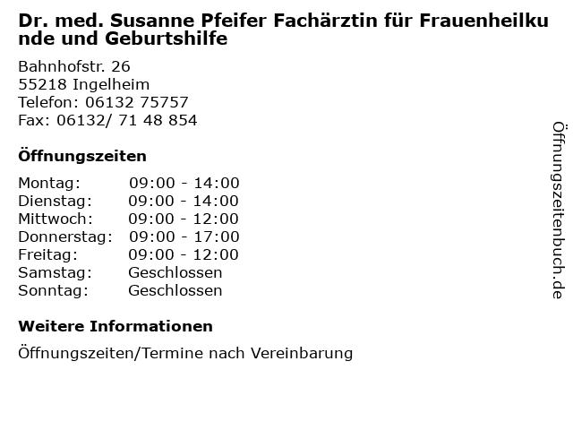 Susanne Pfeifer Fachärztin für Frauenheilkunde und Geburtshilfe in Ingelheim: Adresse und Öffnungszeiten