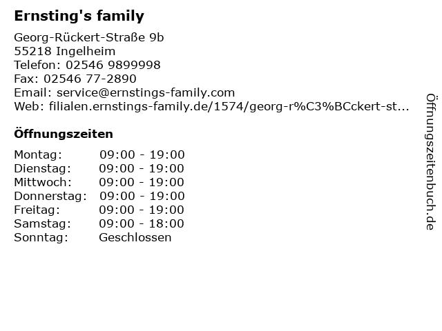 Ernsting's family GmbH & Co. KG in Ingelheim: Adresse und Öffnungszeiten