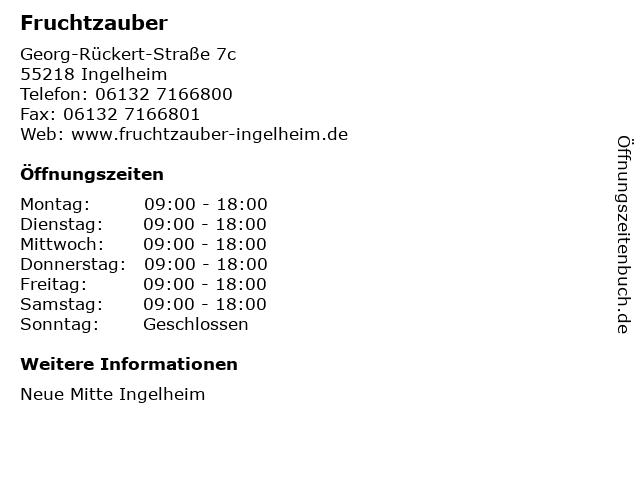 Fruchtzauber in Ingelheim: Adresse und Öffnungszeiten