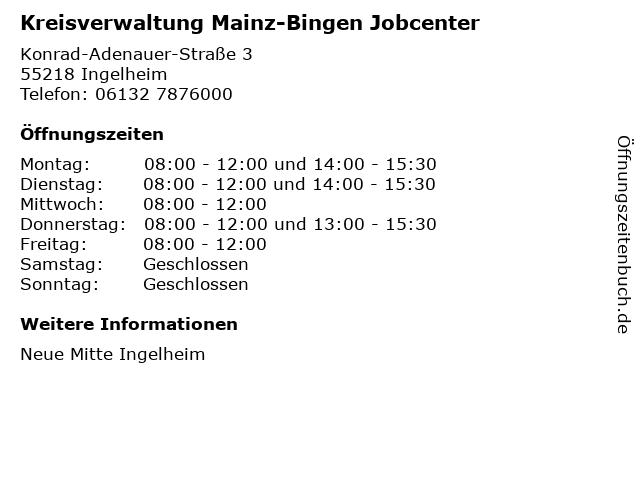 Kreisverwaltung Mainz-Bingen Jobcenter in Ingelheim: Adresse und Öffnungszeiten