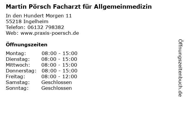 Martin Pörsch Facharzt für Allgemeinmedizin in Ingelheim: Adresse und Öffnungszeiten