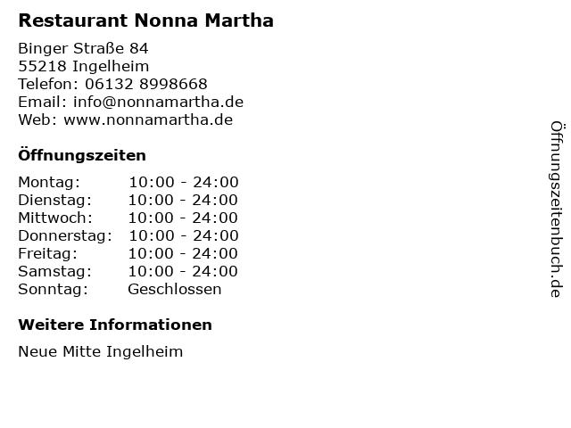 Restaurant Nonna Martha in Ingelheim: Adresse und Öffnungszeiten
