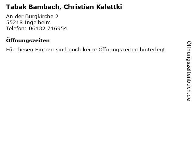 Tabak Bambach, Christian Kalettki in Ingelheim: Adresse und Öffnungszeiten