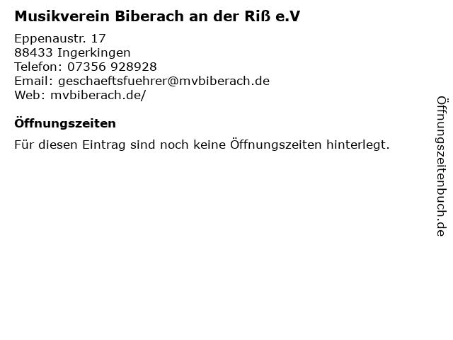 Musikverein Biberach an der Riß e.V in Ingerkingen: Adresse und Öffnungszeiten