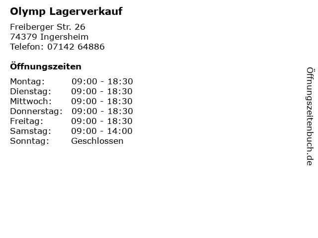 Olymp Lagerverkauf in Ingersheim: Adresse und Öffnungszeiten