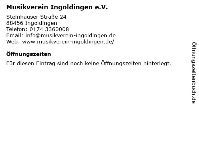 Musikverein Ingoldingen e.V. in Ingoldingen: Adresse und Öffnungszeiten