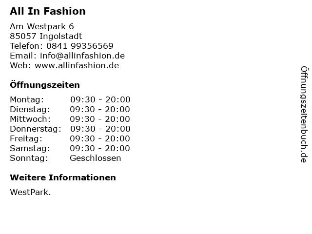All In Fashion in Ingolstadt: Adresse und Öffnungszeiten