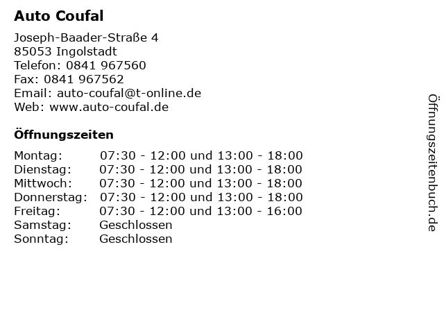 Auto Coufal in Ingolstadt: Adresse und Öffnungszeiten