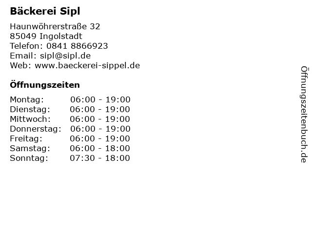 Bäckerei Sipl in Ingolstadt: Adresse und Öffnungszeiten