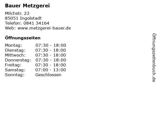 Bauer Metzgerei in Ingolstadt: Adresse und Öffnungszeiten