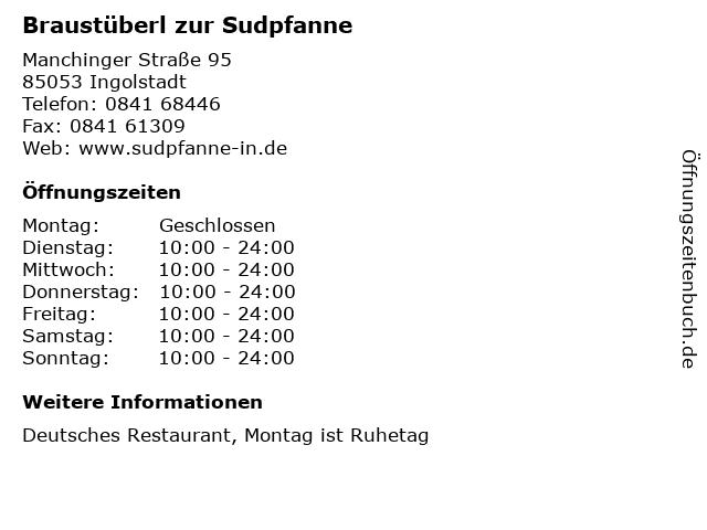 Braustüberl zur Sudpfanne in Ingolstadt: Adresse und Öffnungszeiten