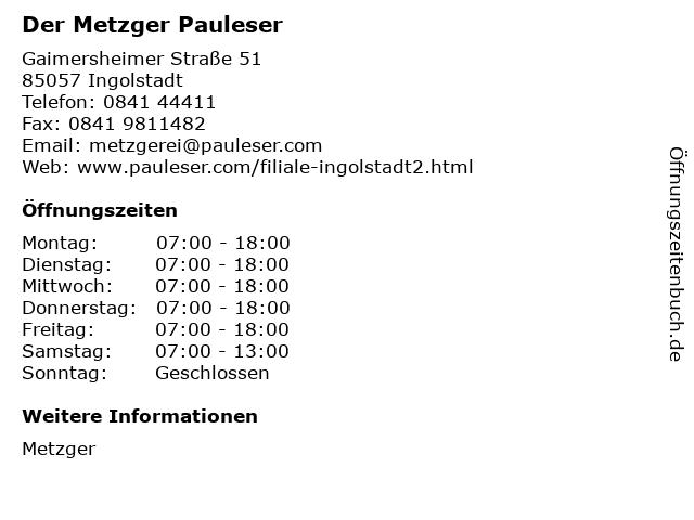 Der Metzger Pauleser in Ingolstadt: Adresse und Öffnungszeiten