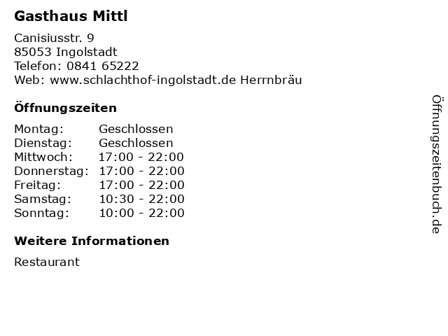 Gasthaus Mittl in Ingolstadt: Adresse und Öffnungszeiten