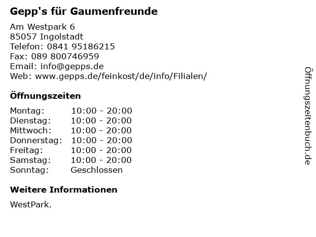 Gepp's für Gaumenfreunde in Ingolstadt: Adresse und Öffnungszeiten