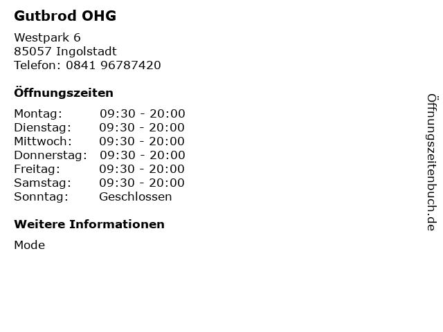 Gutbrod OHG in Ingolstadt: Adresse und Öffnungszeiten
