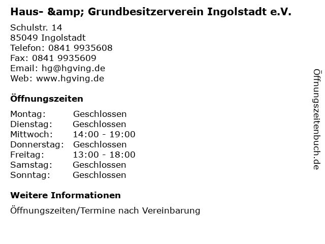 ᐅ öffnungszeiten Haus Grundbesitzerverein Ingolstadt Ev