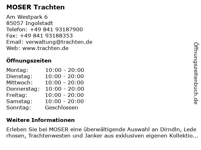 MOSER Trachten in Ingolstadt: Adresse und Öffnungszeiten