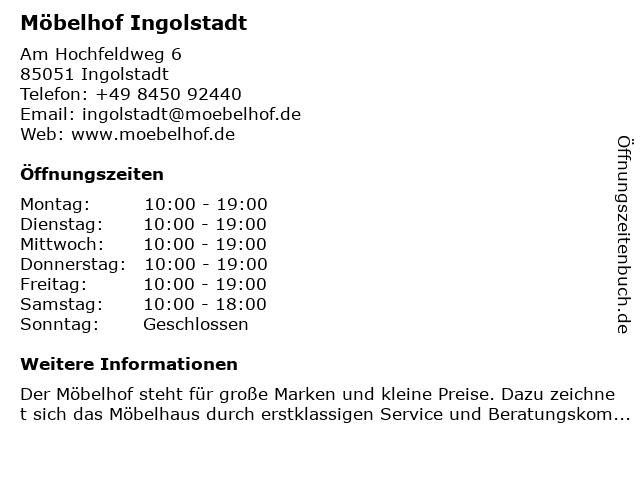 ᐅ öffnungszeiten Möbelhof Ingolstadt Am Hochfeldweg 6 In Ingolstadt