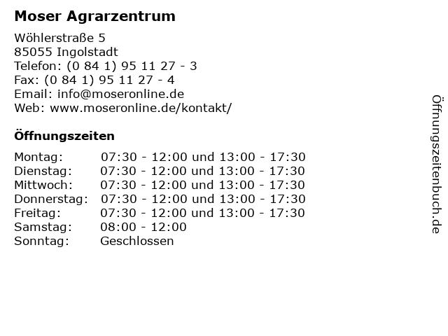 Moser Agrarzentrum in Ingolstadt: Adresse und Öffnungszeiten