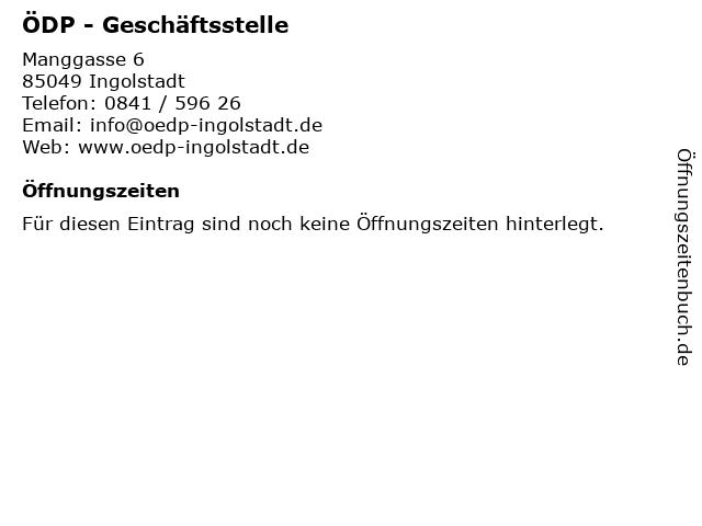ÖDP - Geschäftsstelle in Ingolstadt: Adresse und Öffnungszeiten