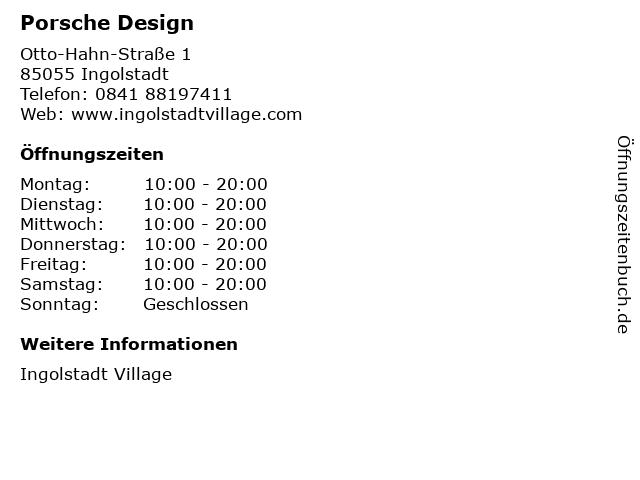 Porsche Design in Ingolstadt: Adresse und Öffnungszeiten