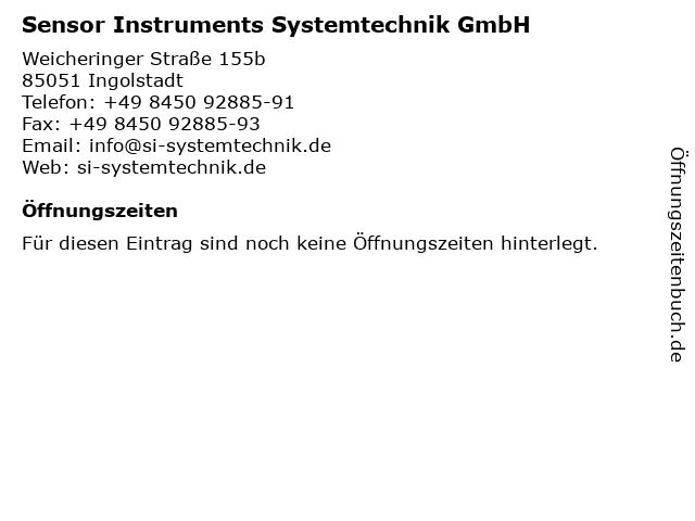 Sensor Instruments Systemtechnik GmbH in Ingolstadt: Adresse und Öffnungszeiten