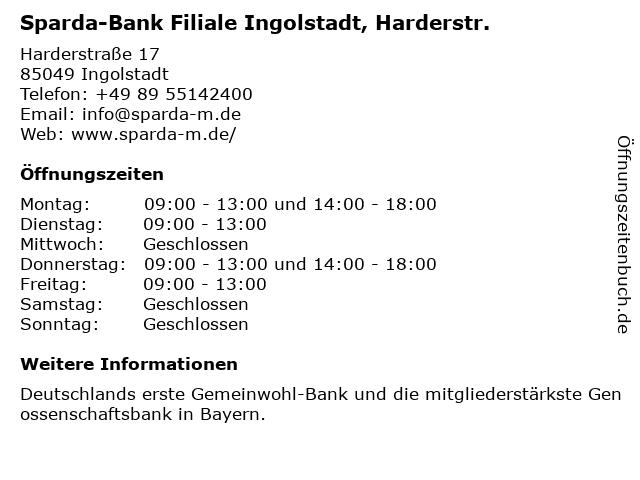 Sparda-Bank Filiale Ingolstadt, Harderstr. in Ingolstadt: Adresse und Öffnungszeiten