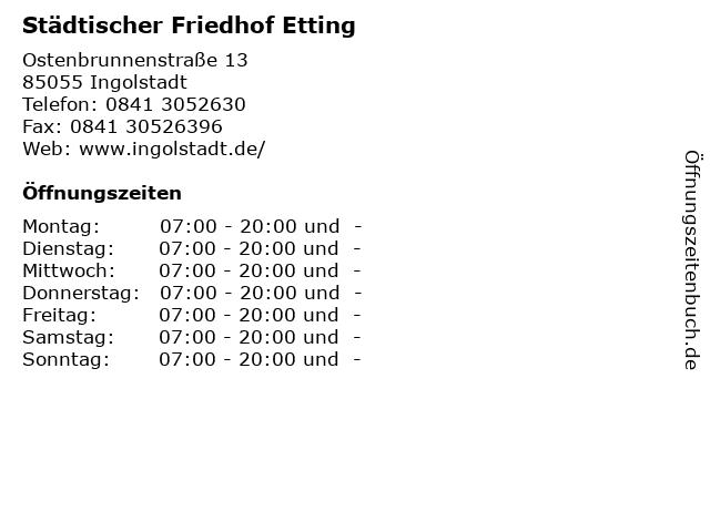 Städtischer Friedhof Etting in Ingolstadt: Adresse und Öffnungszeiten