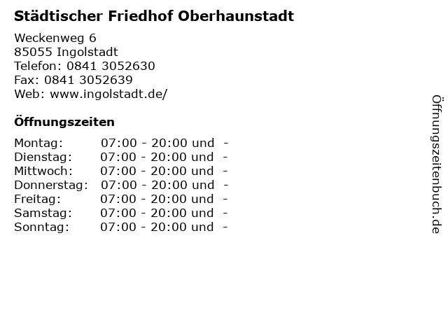 Städtischer Friedhof Oberhaunstadt in Ingolstadt: Adresse und Öffnungszeiten