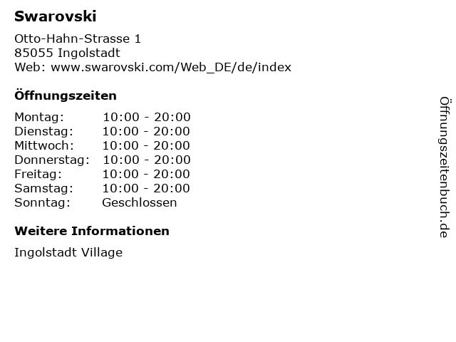 Swarovski in Ingolstadt: Adresse und Öffnungszeiten