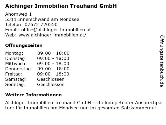 Aichinger Immobilien Treuhand GmbH in Innerschwand am Mondsee: Adresse und Öffnungszeiten