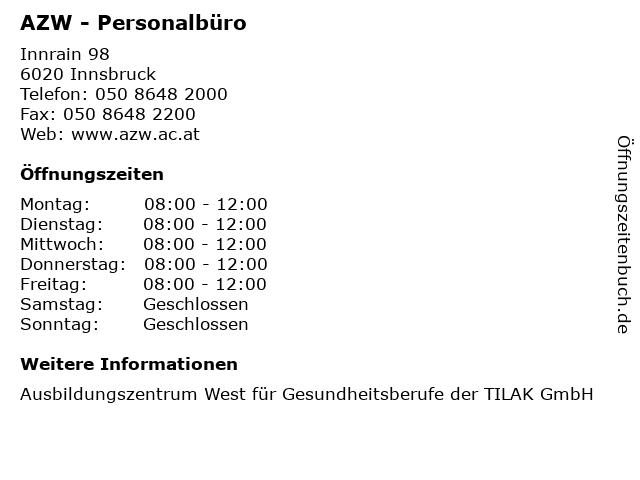 AZW - Personalbüro in Innsbruck: Adresse und Öffnungszeiten