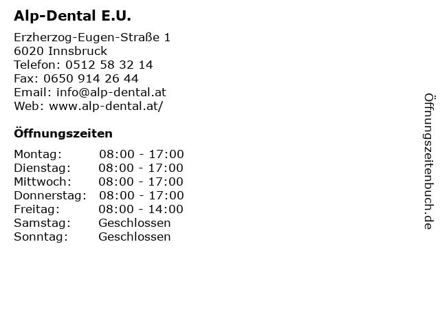 Alp-Dental E.U. in Innsbruck: Adresse und Öffnungszeiten