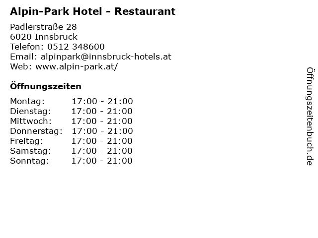 Alpin-Park Hotel - Restaurant in Innsbruck: Adresse und Öffnungszeiten