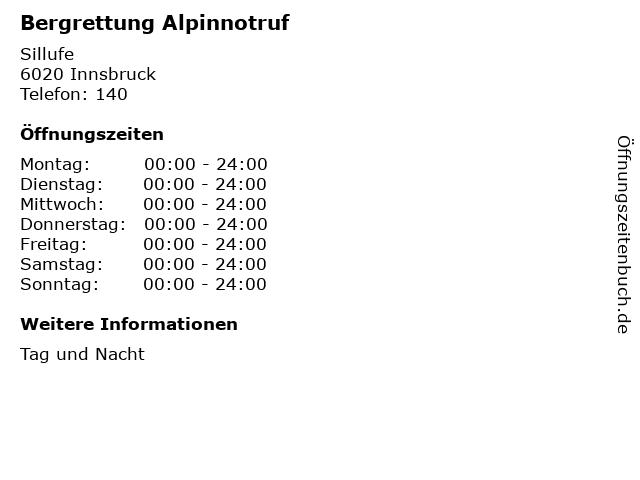 Bergrettung Alpinnotruf in Innsbruck: Adresse und Öffnungszeiten
