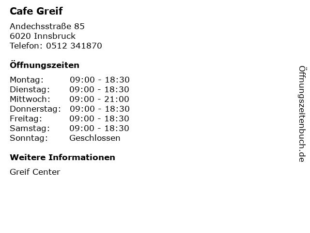 Cafe Greif in Innsbruck: Adresse und Öffnungszeiten