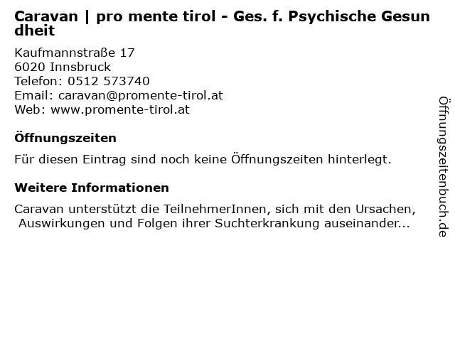 Caravan - Ges. f. Psychische Gesundheit in Innsbruck: Adresse und Öffnungszeiten