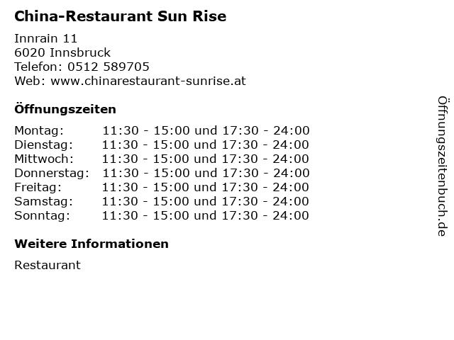 China-Restaurant Sun Rise in Innsbruck: Adresse und Öffnungszeiten