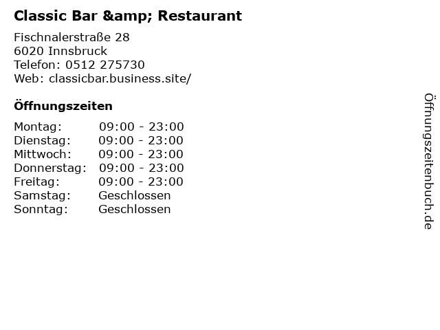 Classic Bar & Restaurant in Innsbruck: Adresse und Öffnungszeiten