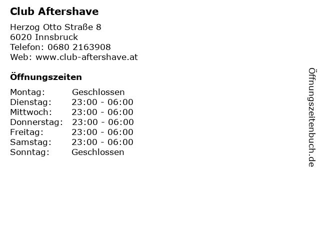 Club Aftershave in Innsbruck: Adresse und Öffnungszeiten