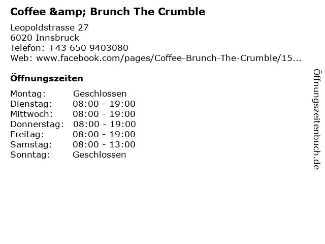 Coffee & Brunch The Crumble in Innsbruck: Adresse und Öffnungszeiten