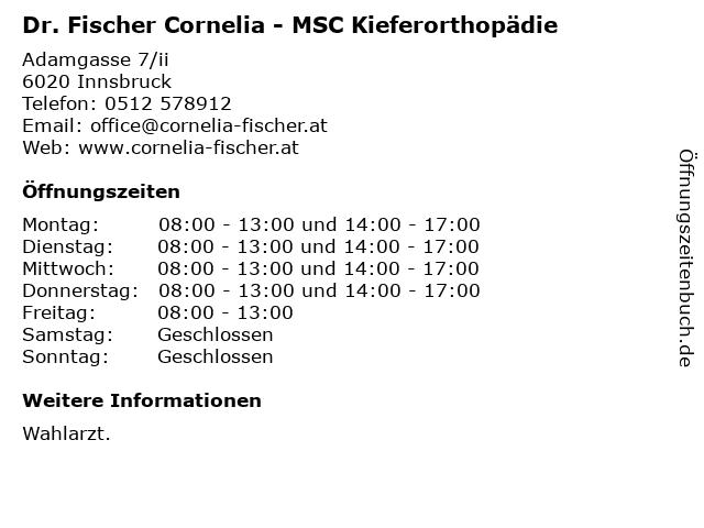 Fischer Cornelia Dr - MSC Kieferorthopädie in Innsbruck: Adresse und Öffnungszeiten